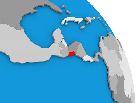 El Salvador highlighted in red on simple globe with visible country borders. 3D illustration