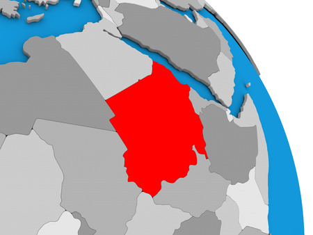 diplomacy: Sudan highlighted in red on simple globe with visible country borders. 3D illustration