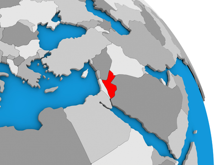 Jordan highlighted in red on simple globe with visible country borders. 3D illustration