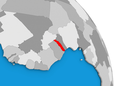 diplomacy: Togo highlighted in red on simple globe with visible country borders. 3D illustration