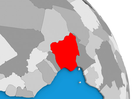 diplomacy: Nigeria highlighted in red on simple globe with visible country borders. 3D illustration