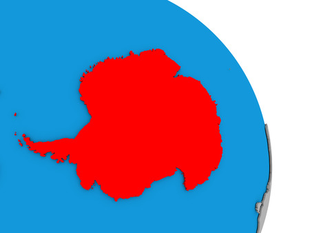 diplomacy: Antarctica highlighted in red on simple globe with visible country borders. 3D illustration