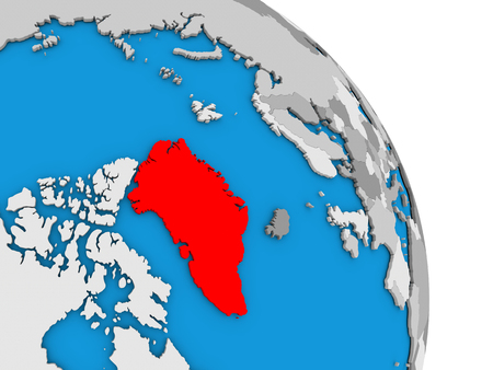 Greenland highlighted in red on simple globe with visible country borders. 3D illustration