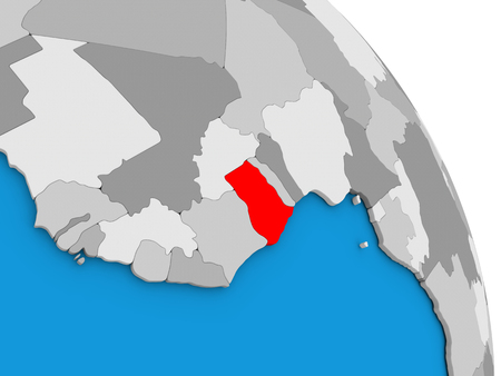 Ghana highlighted in red on simple globe with visible country borders. 3D illustration
