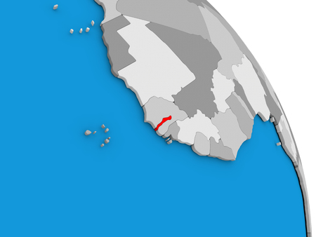 gambia: Gambia highlighted in red on simple globe with visible country borders. 3D illustration