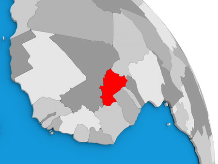 Burkina Faso highlighted in red on simple globe with visible country borders. 3D illustration
