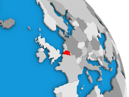 Belgium highlighted in red on simple globe with visible country borders. 3D illustration