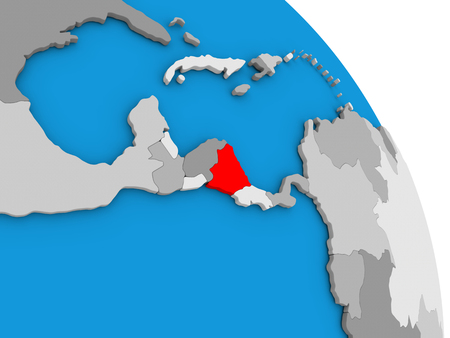 nicaragua: Nicaragua highlighted in red on simple globe with visible country borders. 3D illustration