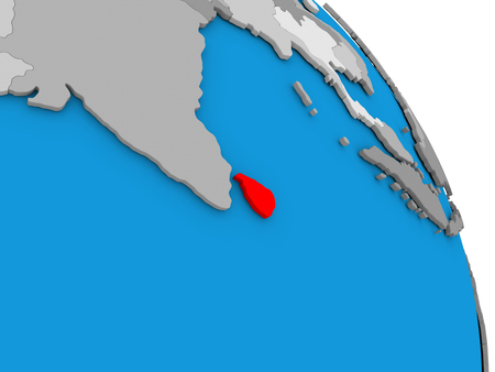 diplomacy: Sri Lanka highlighted in red on simple globe with visible country borders. 3D illustration