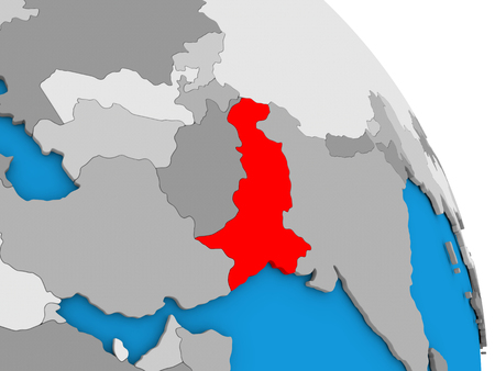 diplomacy: Pakistan highlighted in red on simple globe with visible country borders. 3D illustration