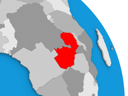 Zambia highlighted in red on simple globe with visible country borders. 3D illustration