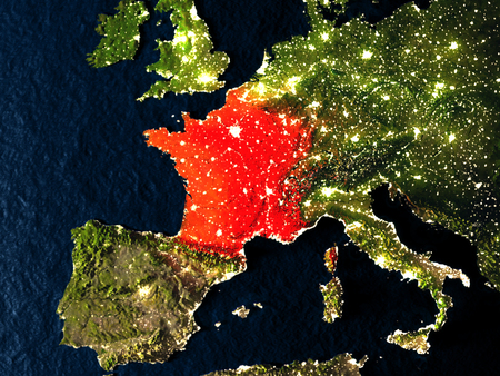 francaise: France in red at night as seen from Earths orbit in space. 3D illustration with highly detailed realistic planet surface. Elements of this image furnished by NASA. Stock Photo