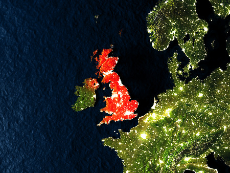 United Kingdom in red at night as seen from Earths orbit in space. 3D illustration with highly detailed realistic planet surface. Elements of this image furnished by NASA.
