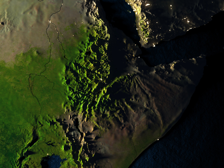 Ethiopia in red at night as seen from Earths orbit in space. 3D illustration with highly detailed realistic planet surface. Elements of this image furnished by NASA.