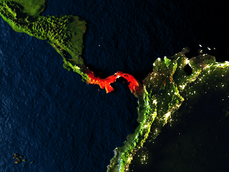 detailed image: Panama in red at night as seen from Earths orbit in space. 3D illustration with highly detailed realistic planet surface. Elements of this image furnished by NASA.