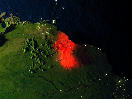 Guyana in red at night as seen from Earths orbit in space. 3D illustration with highly detailed realistic planet surface. Elements of this image furnished by NASA.