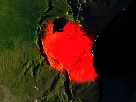 Tanzania in red at night as seen from Earths orbit in space. 3D illustration with highly detailed realistic planet surface. Elements of this image furnished by NASA. Stock Photo