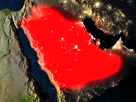 Saudi Arabia in red at night as seen from Earths orbit in space. 3D illustration with highly detailed realistic planet surface. Elements of this image furnished by NASA.