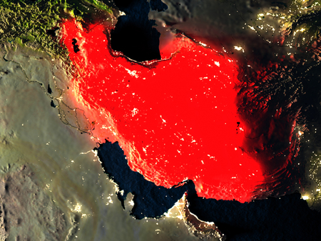 detailed image: Iran in red at night as seen from Earths orbit in space. 3D illustration with highly detailed realistic planet surface. Elements of this image furnished by NASA.