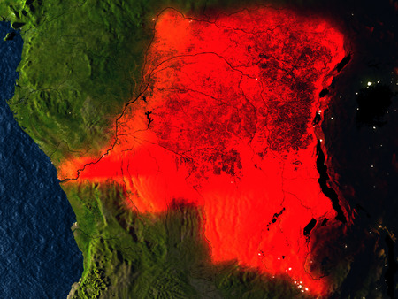 Democratic Republic of Congo in red at night as seen from Earths orbit in space. 3D illustration with highly detailed realistic planet surface. Elements of this image furnished by NASA. Stock Photo