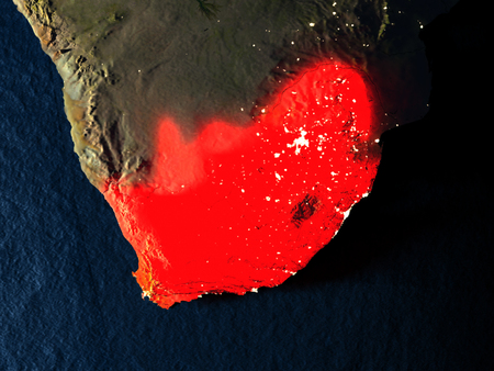 South Africa in red at night as seen from Earths orbit in space. 3D illustration with highly detailed realistic planet surface. Elements of this image furnished by NASA.