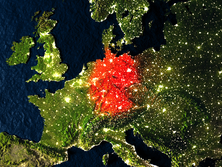 Germany in red at night as seen from Earths orbit in space. 3D illustration with highly detailed realistic planet surface. Elements of this image furnished by NASA.
