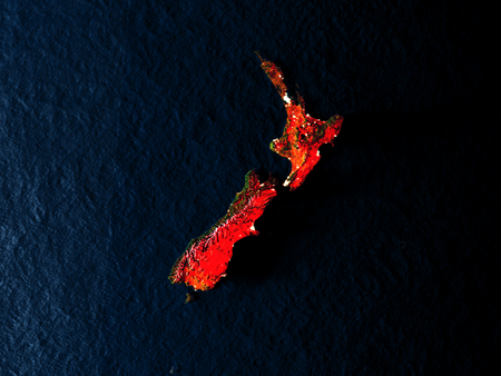 New Zealand in red at night as seen from Earths orbit in space. 3D illustration with highly detailed realistic planet surface. Elements of this image furnished by NASA.