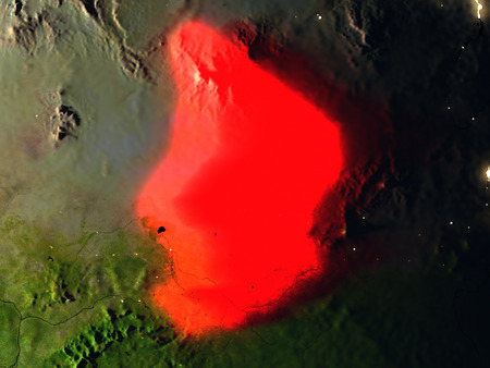 Chad in red at night as seen from Earths orbit in space. 3D illustration with highly detailed realistic planet surface. Elements of this image furnished by NASA.