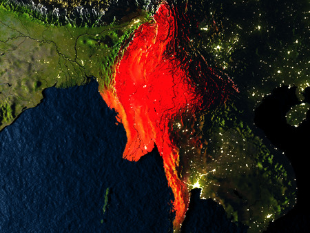 burmese: Myanmar in red at night as seen from Earths orbit in space. 3D illustration with highly detailed realistic planet surface. Elements of this image furnished by NASA.