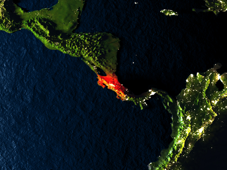 Costa Rica in red at night as seen from Earths orbit in space. 3D illustration with highly detailed realistic planet surface. Elements of this image furnished by NASA.