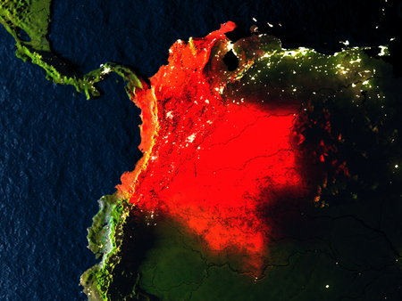 Colombia in red at night as seen from Earths orbit in space. 3D illustration with highly detailed realistic planet surface. Elements of this image furnished by NASA. Stock Photo
