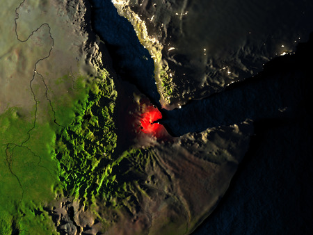 Djibouti in red at night as seen from Earths orbit in space. 3D illustration with highly detailed realistic planet surface. Elements of this image furnished by NASA. Stock Photo