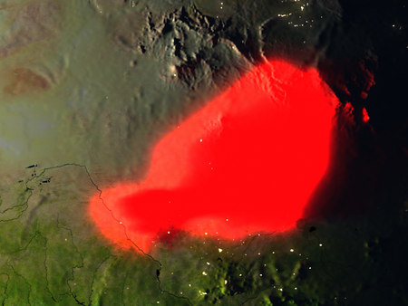 detailed image: Niger in red at night as seen from Earths orbit in space. 3D illustration with highly detailed realistic planet surface. Elements of this image furnished by NASA. Stock Photo