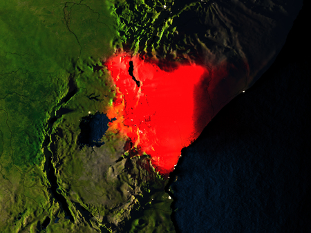 Kenya in red at night as seen from Earths orbit in space. 3D illustration with highly detailed realistic planet surface. Elements of this image furnished by NASA.