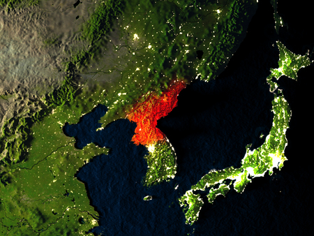 North Korea in red at night as seen from Earths orbit in space. 3D illustration with highly detailed realistic planet surface. Elements of this image furnished by NASA.