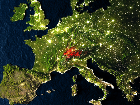 Switzerland in red at night as seen from Earths orbit in space. 3D illustration with highly detailed realistic planet surface. Elements of this image furnished by NASA. Stock Photo