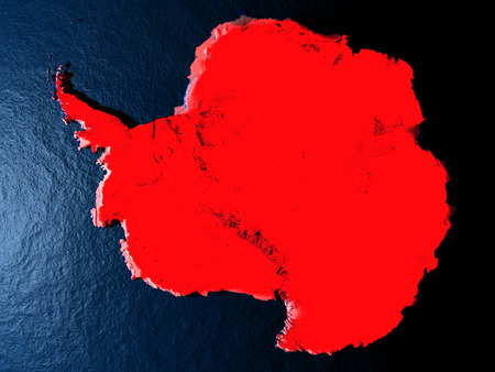 Antarctica in red at night as seen from Earths orbit in space. 3D illustration with highly detailed realistic planet surface. Elements of this image furnished by NASA.