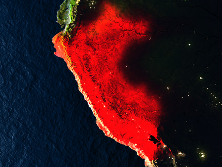 republic of peru: Peru in red at night as seen from Earths orbit in space. 3D illustration with highly detailed realistic planet surface. Elements of this image furnished by NASA.