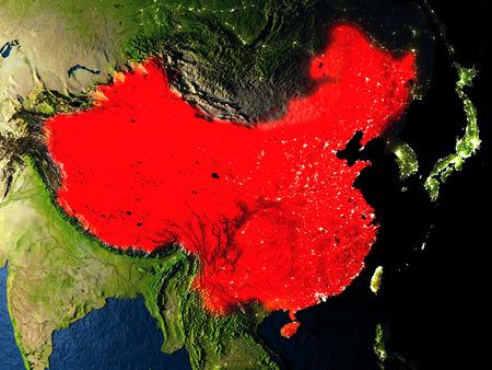 중국 우주 공간에서 지구의 궤도에서 본 밤에 빨간색. 매우 상세한 현실적인 행성 표면 가진 3D 그림입니다. 이 이미지의 요소는 NASA에서 제공 한 것입