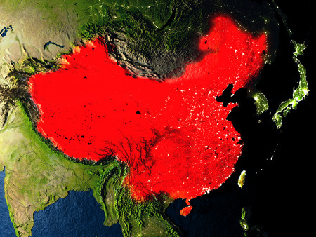 China in red at night as seen from Earths orbit in space. 3D illustration with highly detailed realistic planet surface. Elements of this image furnished by NASA.