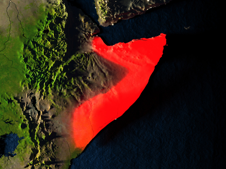Somalia in red at night as seen from Earths orbit in space. 3D illustration with highly detailed realistic planet surface. Elements of this image furnished by NASA.