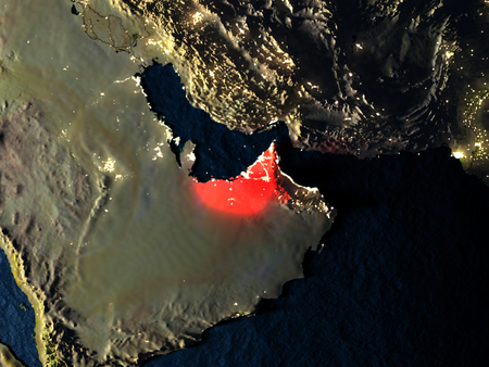 United Arab Emirates in red at night as seen from Earths orbit in space. 3D illustration with highly detailed realistic planet surface. Elements of this image furnished by NASA. Stock Photo