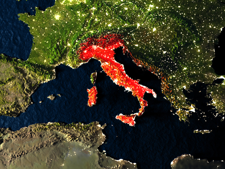 Italy in red at night as seen from Earths orbit in space. 3D illustration with highly detailed realistic planet surface. Elements of this image furnished by NASA.