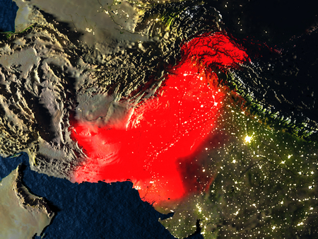 Pakistan in red at night as seen from Earths orbit in space. 3D illustration with highly detailed realistic planet surface. Elements of this image furnished by NASA.