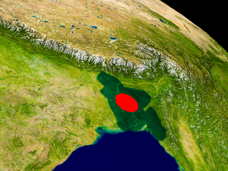Map of Bangladesh with embedded flag on planet surface. 3D illustration. Elements of this image furnished by NASA.