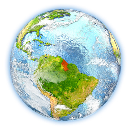 Guyana highlighted in red on planet Earth. 3D illustration isolated on white background. Stock Photo