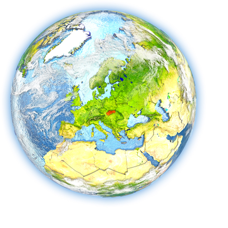 Slovakia highlighted in red on planet Earth. 3D illustration isolated on white background. Stock Photo