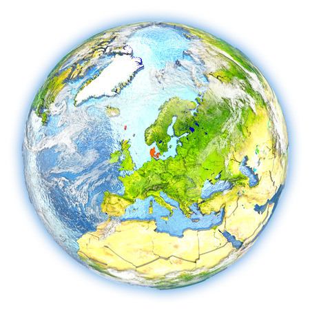 Denmark highlighted in red on planet Earth. 3D illustration isolated on white background.