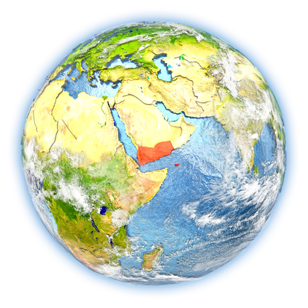 yemen: Yemen highlighted in red on planet Earth. 3D illustration isolated on white background.