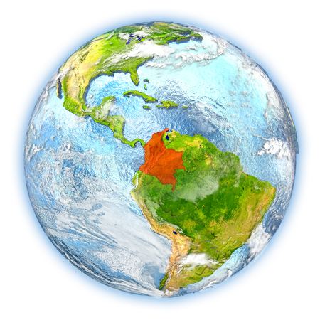 Colombia highlighted in red on planet Earth. 3D illustration isolated on white background.